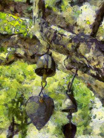 A wind chime hanging on a big tree Illustrations creates an impressionist style of painting.