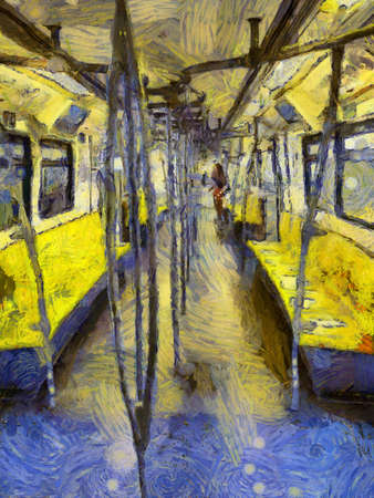 Inside of the Sky Train Illustrations creates an impressionist style of painting. Banque d'images