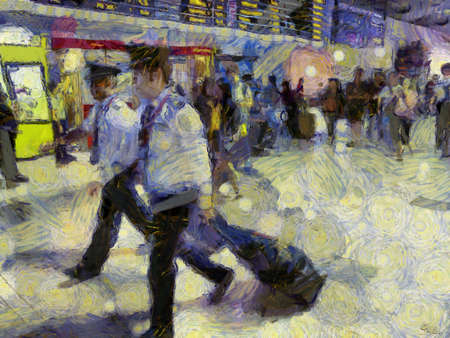 Passengers in the airport Illustrations creates an impressionist style of painting. Banque d'images