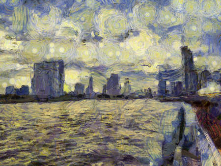 Landscape of Bangkok city along the Chao Phraya River Illustrations creates an impressionist style of painting. Banque d'images