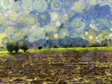 Landscapes of grass and mountains Illustrations creates an impressionist style of painting.