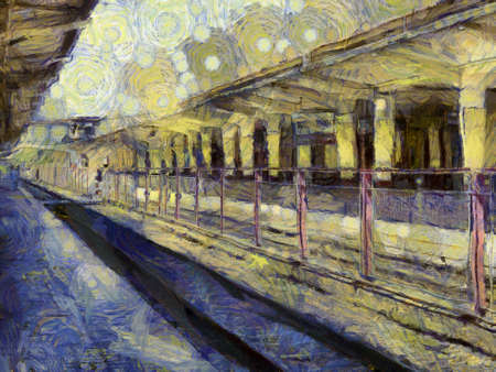 Old train station building Illustrations creates an impressionist style of painting.