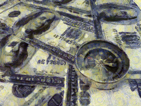 Several dollar bills and compasses Illustrations creates an impressionist style of painting. Archivio Fotografico