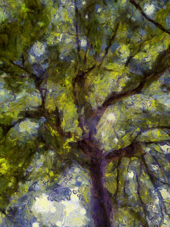 The branches of the leaves on the big trees that shine through Illustrations creates an impressionist style of painting.