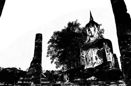 Ancient thai architecture landscape Black and white illustrations.