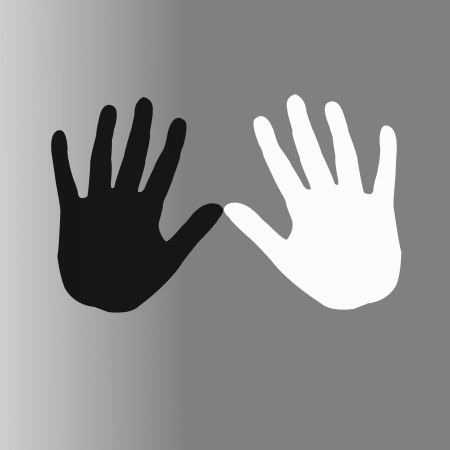 vector illustration of black and white hands  Stock Illustration - 16992876