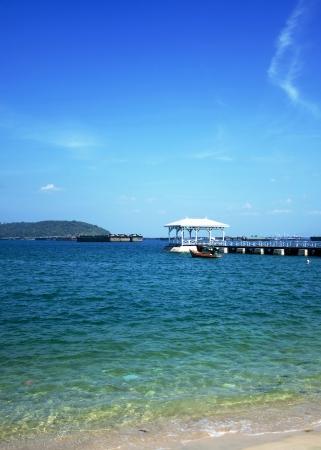 bridge to the sea Stock Photo