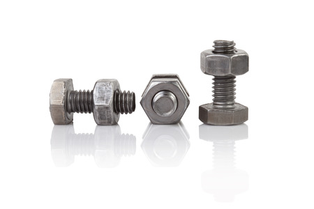 nuts: bolt and nut on white background Stock Photo