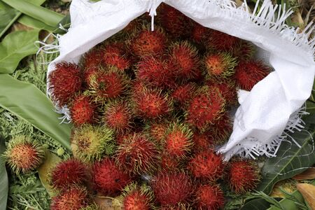 red Nephelium lappaceum on white bag and basket