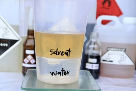 The difference between solvent and water Foto de archivo