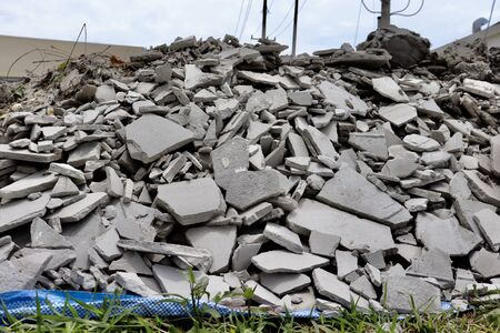 Remnants of cement and waste from construction