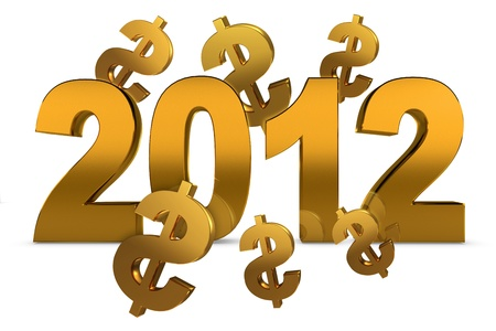 NEW YEAR 2012 and dollar sign on a white background photo