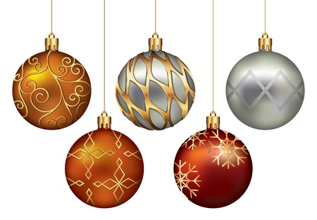 bauble: Christmas Ornaments Hanging on Gold Thread