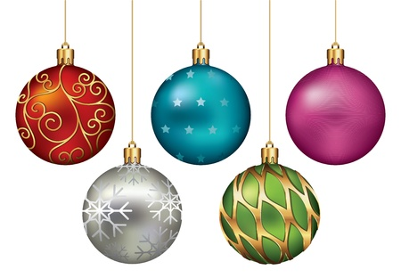 Christmas Ornaments Hanging on Gold Thread photo