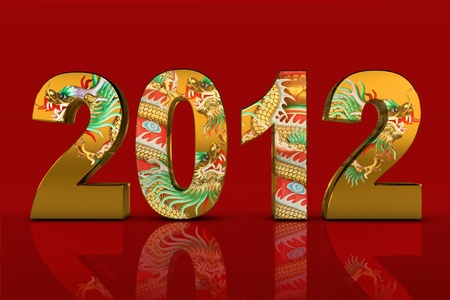 NEW YEAR 2012 and dragon tattoo Stock Photo - 11041075