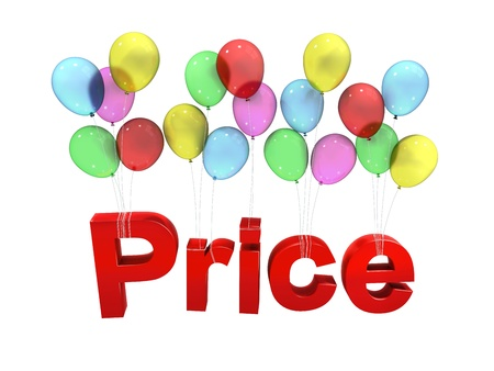 Price with balloon on white background Stock Photo