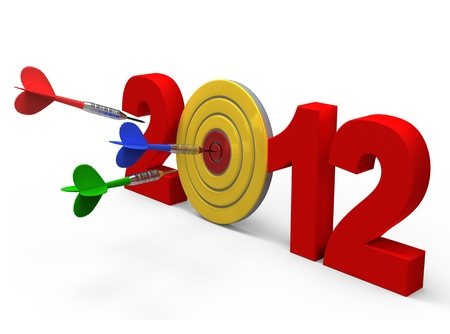 Dart hitting target - New Year 2012 isolated. Computer generated 3D photo rendering. Stock Photo - 11041077