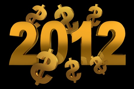 NEW YEAR 2012 and dollar sign on a black background Stock Photo - 11041082