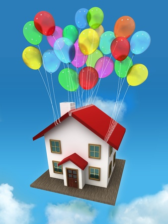 House with balloon in the sky and clouds photo