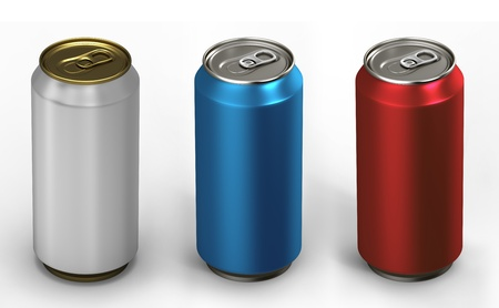 3d illustration of three aluminum cans over white background