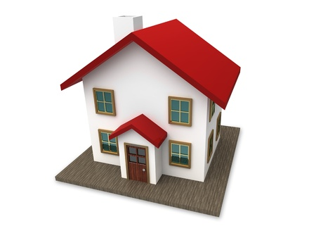 exteriors: A small house with red roof on a white background. Created in 3D.