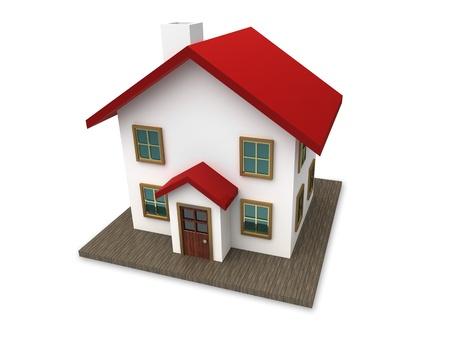 Een klein huis met rood dak op een witte achtergrond. Gemaakt in 3D.