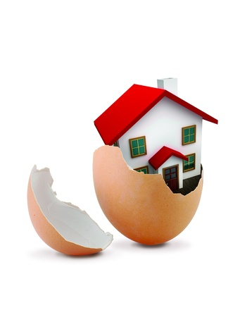 majority: House in Egg isolated on White Background  Stock Photo