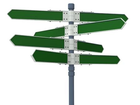 Señal de dirección en blanco con 8 flechas (añada su texto) aislado en blanco