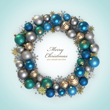 christmas ball isolated: Christmas wreath decoration from color bubbles