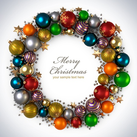 christmas wreath: Christmas decoration from color bubbles Stock Photo