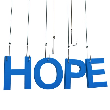 Text Hope hanging on a fishing hook. Isolated over white photo