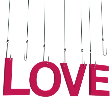 Text 'Love' hanging on a fishing hook. Isolated over white photo