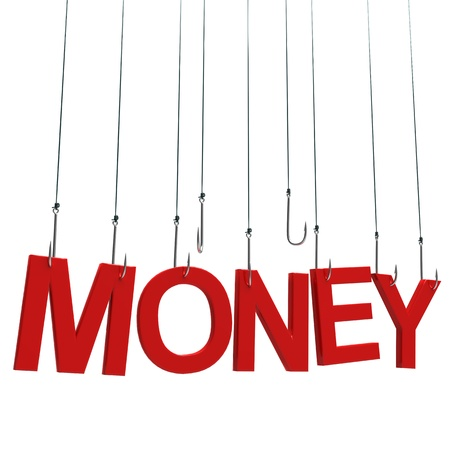 trapped: Text Money hanging on a fishing hook. Isolated over white