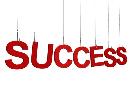"""Text """"Success"""" hanging on a fishing hook. Isolated over white"""