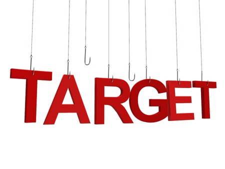 Text Target hanging on a fishing hook. Isolated over white photo