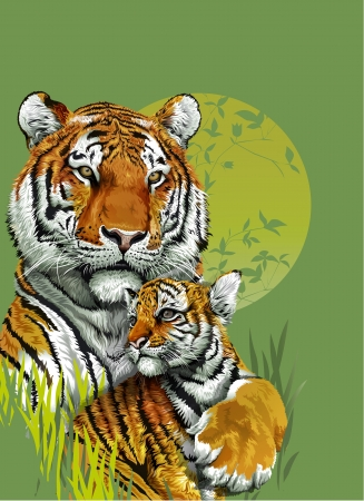 Tiger and baby tiger in jungle