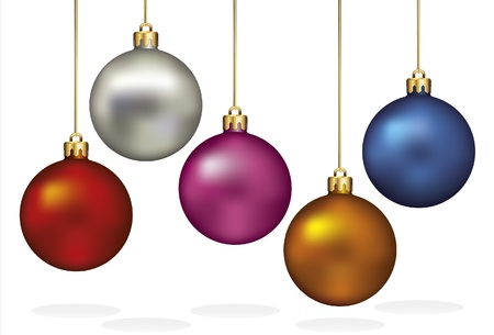 baubles: Christmas Ornaments Hanging on Gold Thread