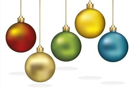 the sphere: Adornos de Navidad colgando de hilos de oro
