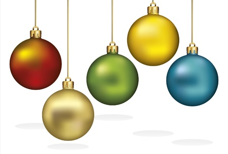 Christmas Ornaments Hanging on Gold Thread