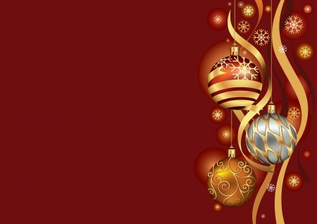 Christmas background with baubles and ribbon in snow