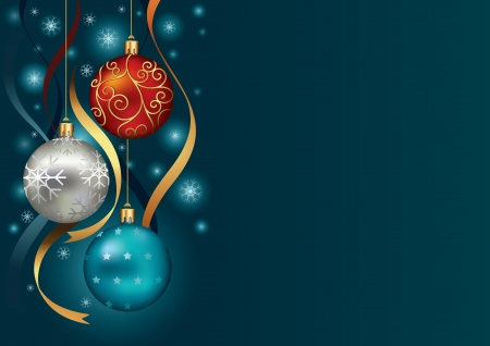 christmas decorations: Christmas background with baubles and ribbon in snow