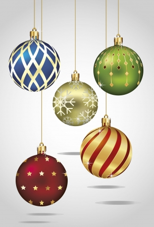 christmas bauble: Christmas Ornaments Hanging on Gold Thread