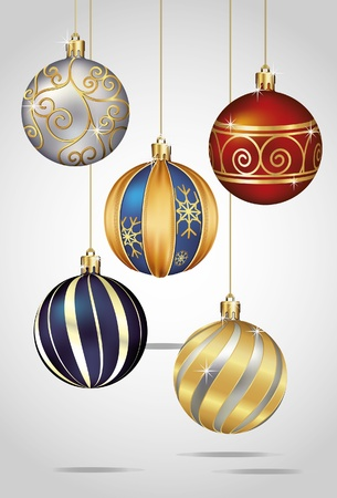 Christmas Ornaments Hanging on Gold Thread Stock Vector - 11375561