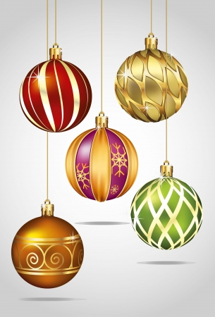 hanging dangling: Christmas Ornaments Hanging on Gold Thread
