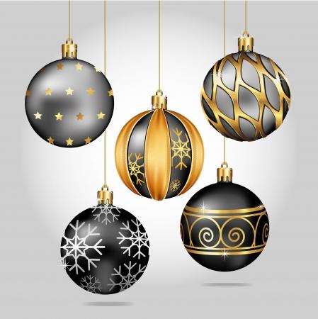 esfera: Adornos de Navidad colgando de hilos de oro