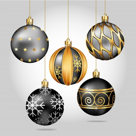 christmas decoration: Christmas Ornaments Hanging on Gold Thread
