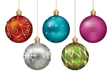 esfera: Adornos de Navidad cuelgan en Hilo de oro Vectores