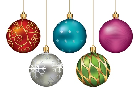 christmas sphere: Christmas Ornaments Hanging on Gold Thread
