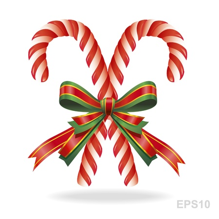 cane: Christmas candy cane and ribbon .Over white Illustration