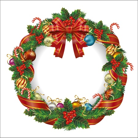 pine wreath: Christmas wreath. Vector Illustration